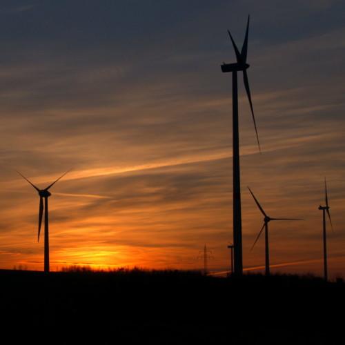 Das Bild zeigt die aufgehende Sonne zwischen stehenden Windrädern, die Sonne geht gerade auf und färbt die Wolken goldig ein.