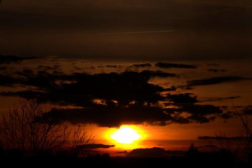 Die Sonne kurz vor dem Untergang, sie schaut zwischen den Wolken hervor. Unten sieht man die Siluouette von Bäumen.
