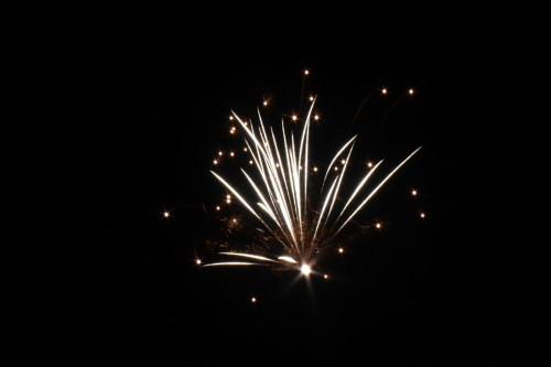 Das Bild zeigt die weißen Fontänen einer Feuerwerksrakete