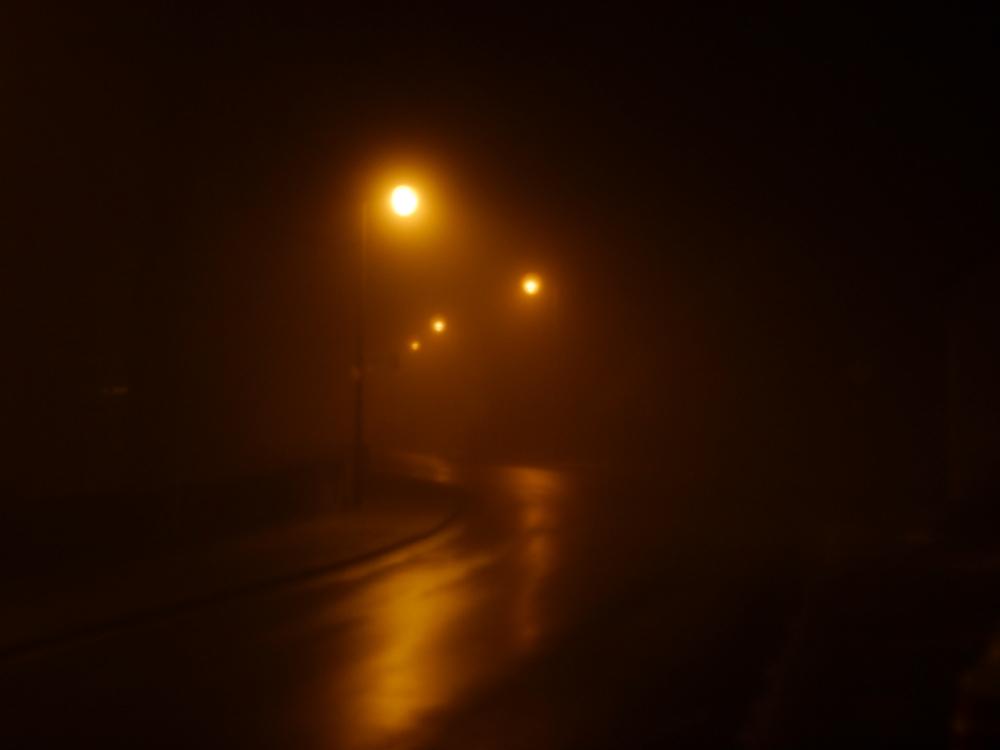 Das Foto zeigt eine feuchte Straße im Nebel, auf der linken Straßenseite stehen rote Laternen