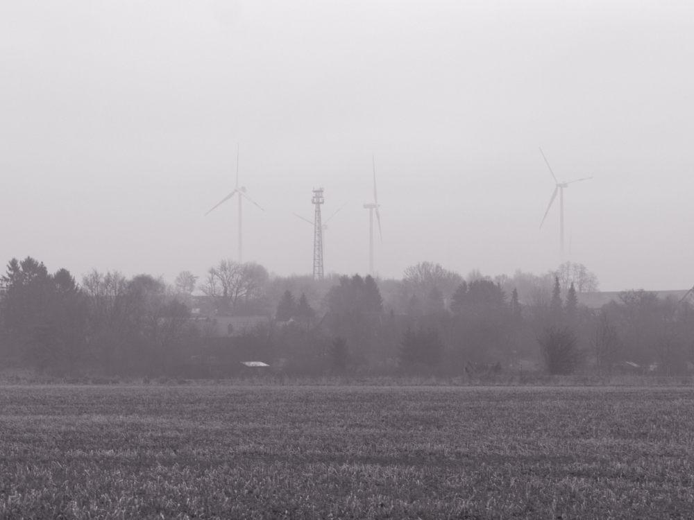 Das s/w-Foto zeigt eine Landschaftsaufnahme bei Nebel, man erahnt zwischen den Bäumen Hüser, im Hintergrund Windkraftanlagen und ein Mobilfunk-Mast