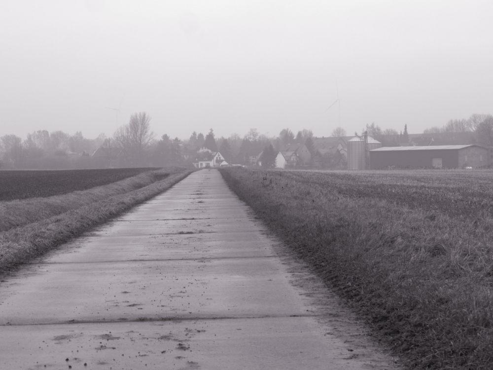 Das s/w-Foto zeigt einen Feldweg bei Nebel, im Hintergrund das Dorf Winnigstedt