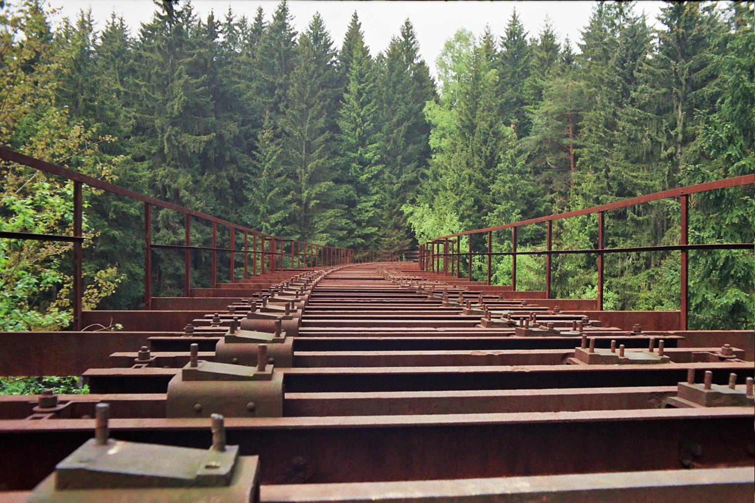 Das Foto zeigt eine rote, stählerne und rostige Eisenbahnbrücke ohne Gleise