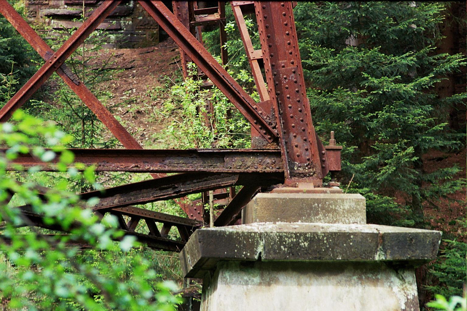 Ds Foto zeigt die stählernen, verrosteten Träger einer alten Eisenbahnbrücke