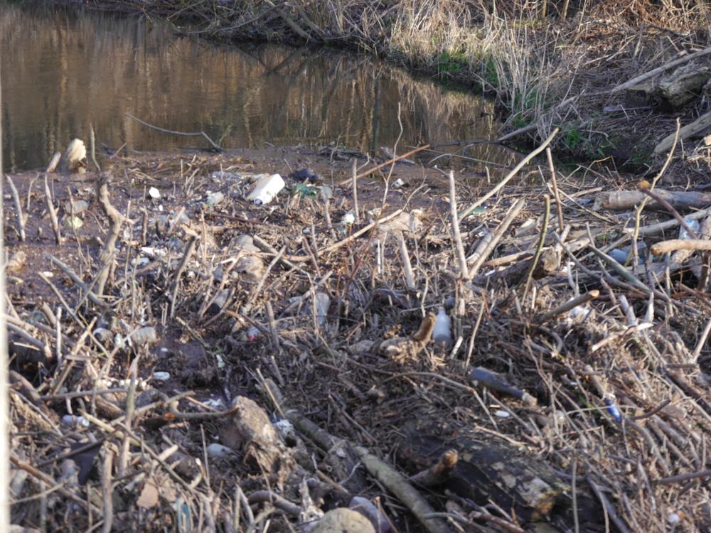 Das Foto zeigt Treibgut an einem Wehr, zwischen Ästen und anderem natürlichen Material sieht man leere Flaschen, Kanister und sonstiger Müll sowie einen Autoreifen