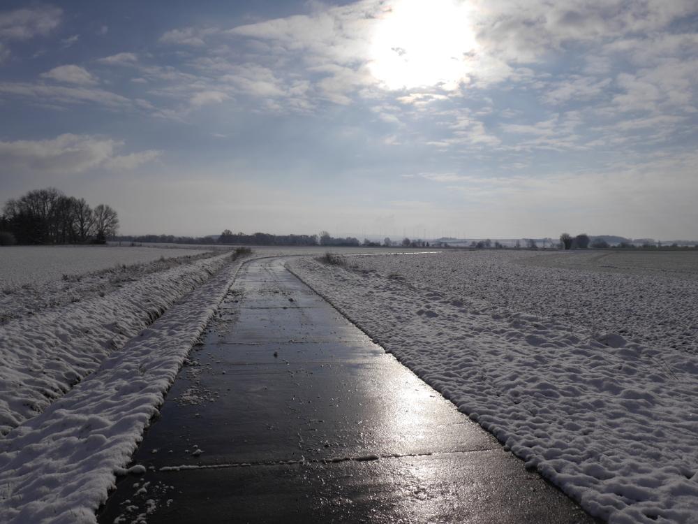 Eine Winterlandschaft, auf dem Feldweg ist der Schnee schon geschmolzen, die Sonne reflektiert auf dem feuchten Weg.