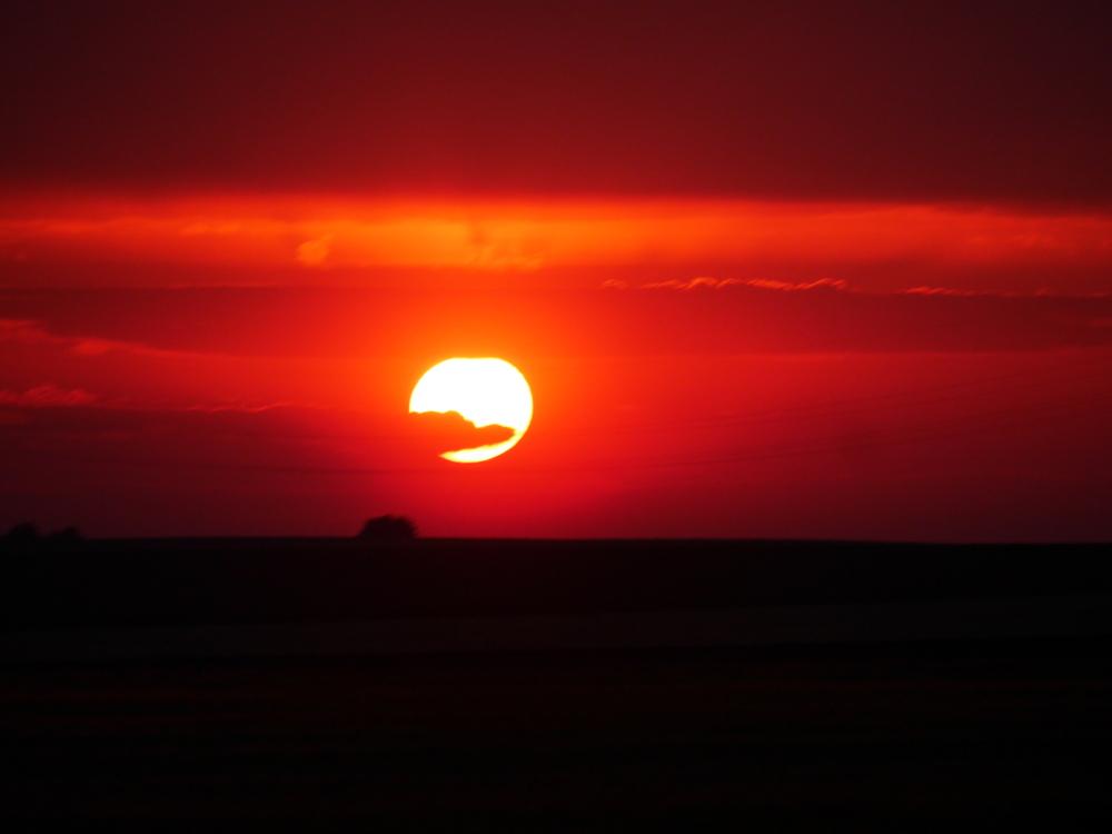 """Das Foto zeigt einen roten, """"blutigen"""" Sonnenuntergang"""