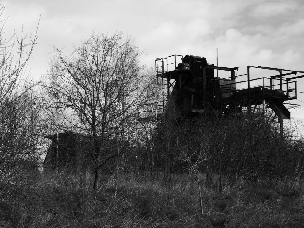 Die Ruine einer technischen Anlage auf dem ehemaligen Industriegelände von Mattierzoll