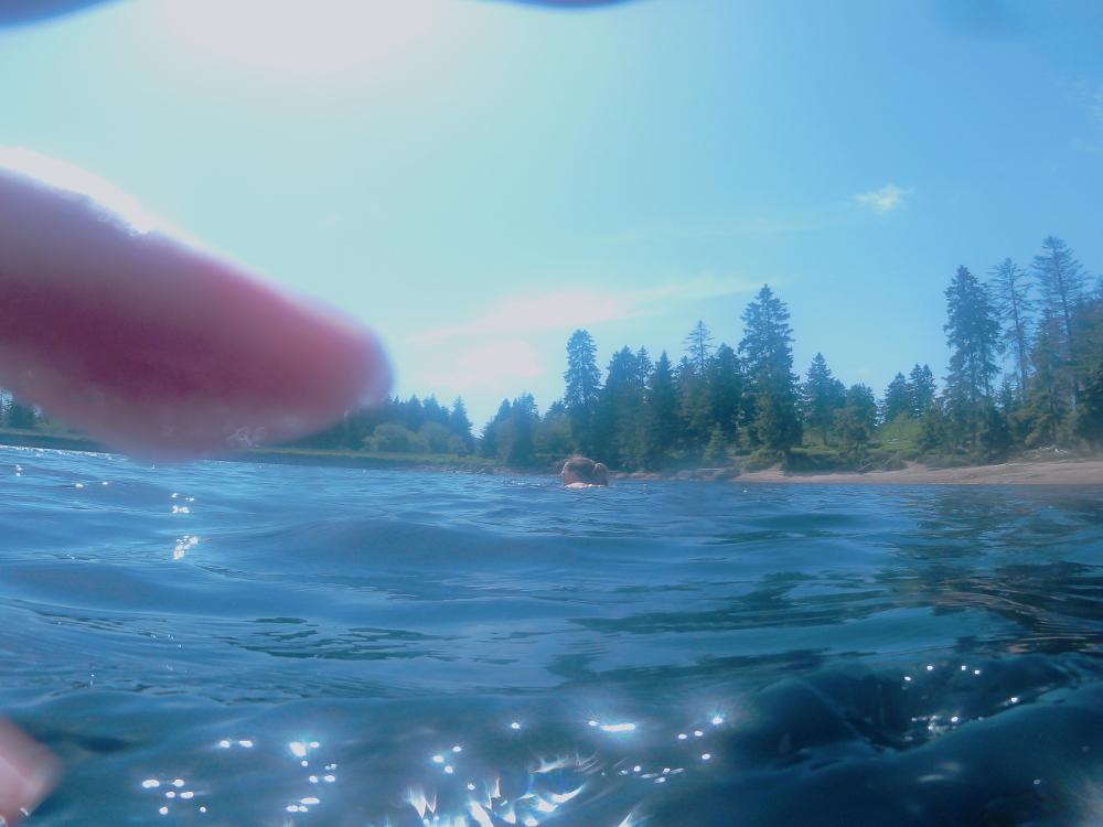 Ein unscharfes Bild einer Action-Cam im Wasser, am sieht im Wasser eine Schwimmerin, die Finger des Fotografs und wie die Sonne im Wasser glitzert.