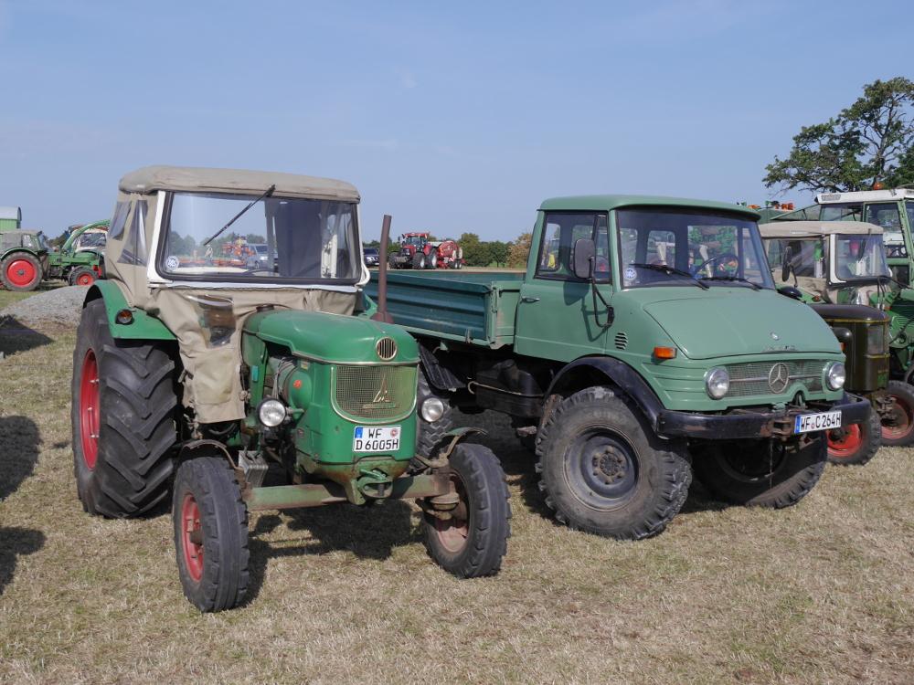 Dasa Foto zeigt einen grünen Magirus-Deutz-Traktor und rechts daneben einen grünen Unimog. Beides Oldtimer. Im Hintergrund sieht man weitere Oldtimer.