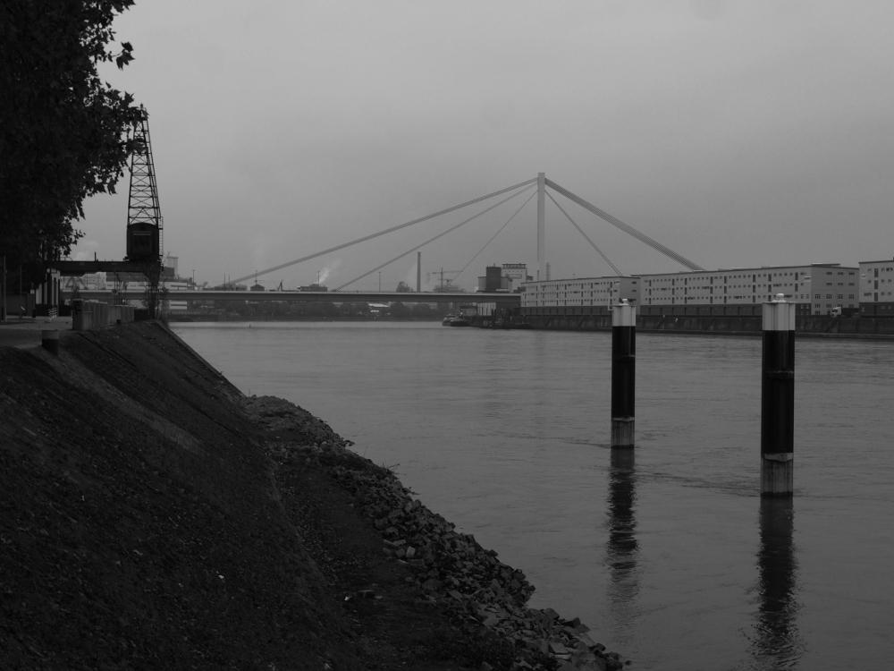 Das s/w-Foto zeig den Rhein bei trübem Wetter, man erkennt eine Rheinbrücke, den Ludwigshafener Kran und hinten die Industriegebiete