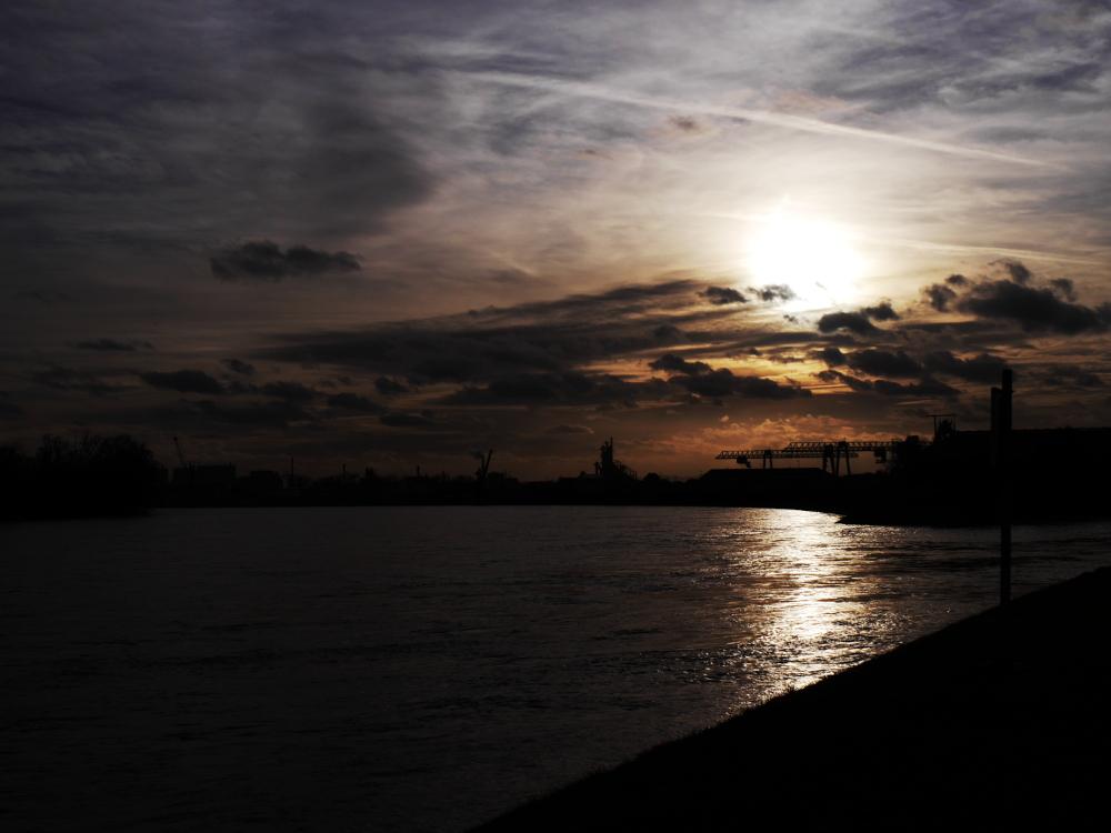 Das Foto zeigt einen Teil vom Hafen in Ludwigshafen bei Gegenlicht, man sieht die Industrieanlagen und Kräne hauptsächlich als Sioulette. Der Himmel ist bedeckt, durch die Wolken kämpft sich die Sonne.