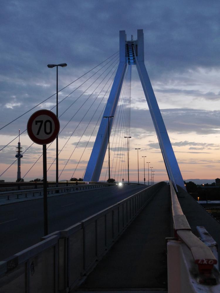 """Das Foto zeigt eine Straßenbrücke mit großem Masten, von dem aus an Stahlseilen die Straße """"hängt"""". Das Bild ist am Anfang der Brücke aufgenommen."""