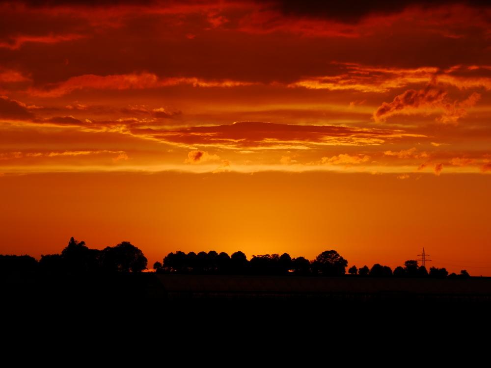 Dasa Foto zeigt einen sehr dramtischen Sonnenuntergang, unten sind Bäume usw, die Sonne geht gerade unter und die Wolken usw. sind in orangenes Licht getaucht.