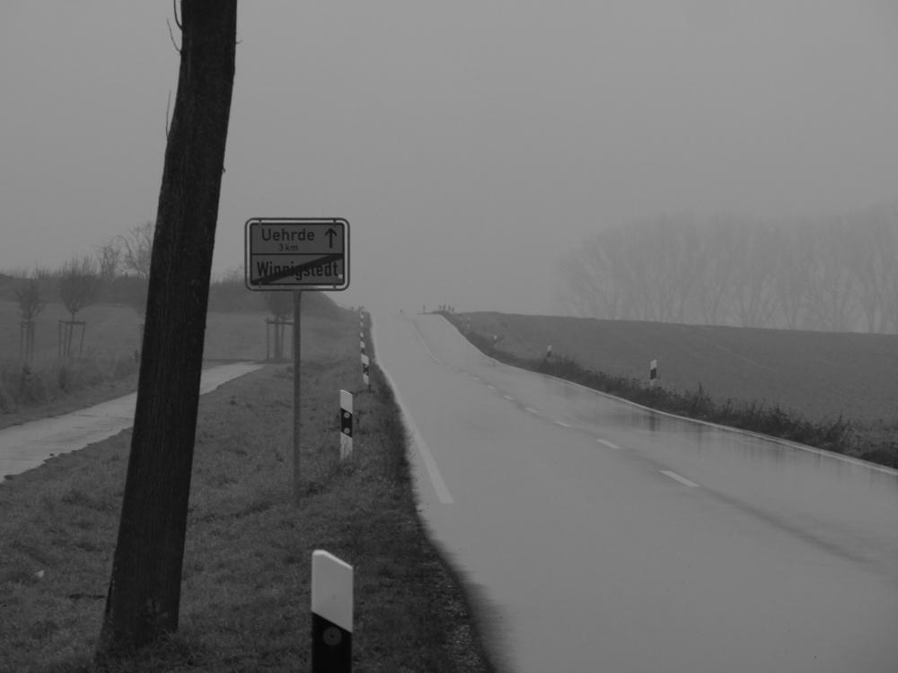 Ein Straßenfoto bei Nebel und Nieselregen. Links ist ds Ortsschild Winnigstedt zur Ausfahrt nach Uehrde und die Straße ist naß.