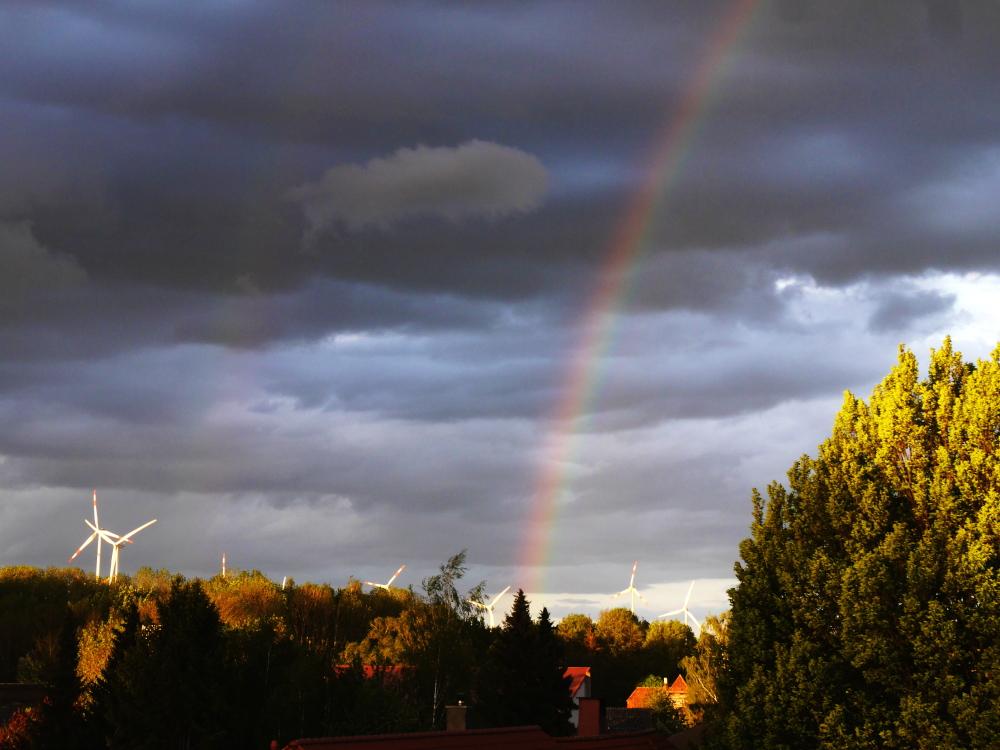 Ein Landschaftsfoto von einer Wolkenbehangenen Landschaft, dennoch scheint ein wenig die Sonne, was man an den Bäumen in der unteren Hälfte gut sehen kann. Etwa in der Bildmitte beginnt ein Regenobgen, der nach oben weg geht und am Horizont sind die Rotoren von Windkraftanlagen zu erkennen. Wer genau hinschaut kann auch in der linken Bildhälfte einen zweiten Regenbogen erahnen...