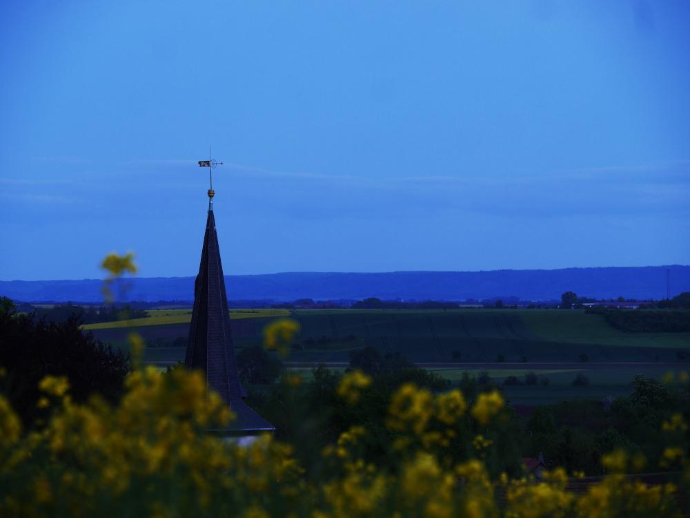 Eine Landschaftsaufnahme nach dem Sonnenuntergang, man sieht einen Kirchturm, davor gelbe, unscharfe Rapsblüten und im Hintergrund Felder und noch weiter hinter einen bewaldeten Hügel. Das Bild ist insgesamt durch das Licht ins blaue verschoben.