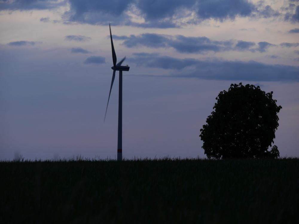Eine Landschaftsaufnahme nach dem Sonnenuntergang, man sieht leicht links der Mitte eine Windkraftanlage, die Rotorblätter sind durch die Lange Belichtung leicht unscharf, rechts ein Busch. Der Himmel ist mit blauen Wolken.