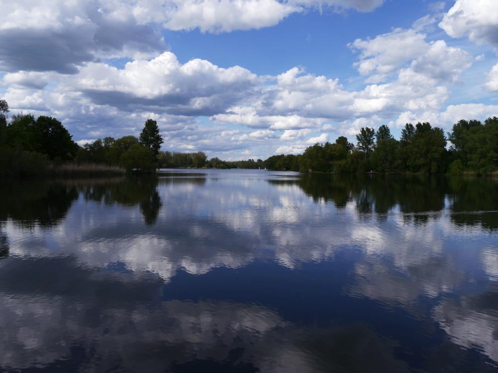 Eine Landschaftsaufnahme an einem See, am Ufer stehen Bäume und am Himmel sind Wolken. Das Wasser ist ziemlich ruhig und so spiegeln sich die Bäume und die Wolken im See.