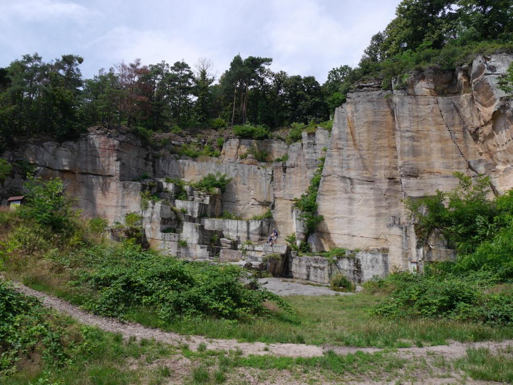 Das Foto zeigt einen alten Steinbruch aus römischen Zeiten. Auf den Steinen wachsen inzwischen Büsche und Bäume, man sieht aber an den geraden, gemoetrischen Bruchkanten deutlich, das Menschen hier zu Werk waren und das nicht natürlich entstanden sein kann.
