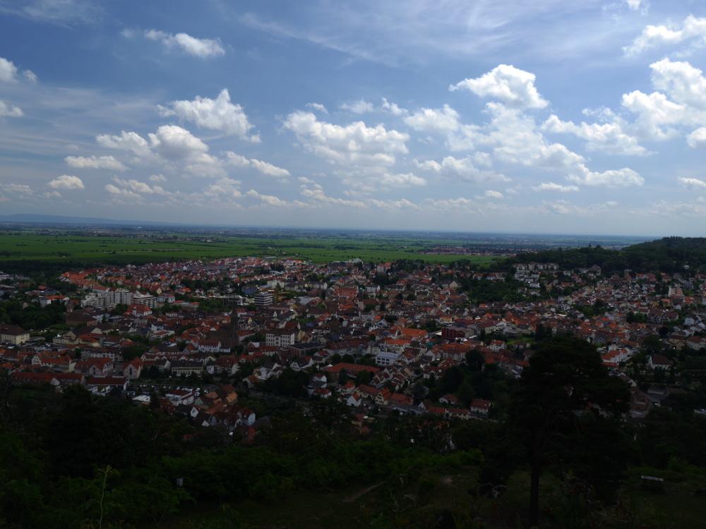 Eine Landschaftsaufnahme hoch über der Stadt Bad Dürkheim. Man sieht die Häuse der Stadt und dahinter die Rheinebene mi weiten Feldern und kann im Hintergrund weitere Städte erahnen.